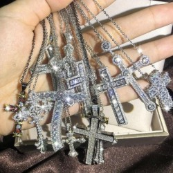 Bling Cross Pendant Silver Color Statement Necklace with Zircon StoneLong Chain Necklace