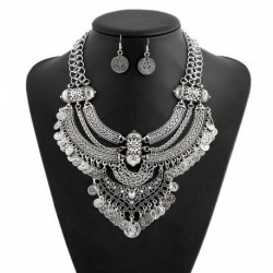 Bohemian Statement Maxi Collier Necklaces Earrings Women