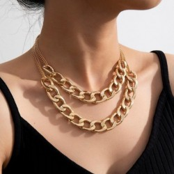 Choker Necklace for Women Hiphop 2 Layered Chunky Necklaces Statement Fashion Jewelry Collier