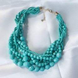 Choker Statement Braided Acrylic Beaded Necklace