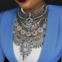 Crystal Maxi Choker Statement Silver Color Collier Necklace Boho Women Jewelry