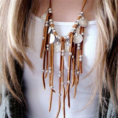 Faux Suede Coin Beads Tassel Pendant  Necklaces Women  Jewelry