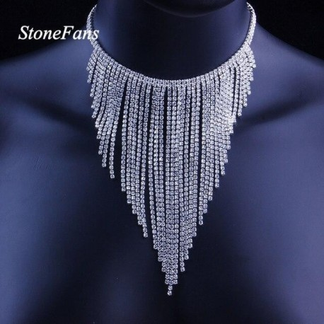 Luxury Wedding Rhinestone Tassel Choker Necklace Chain Statement Jewelry for Women