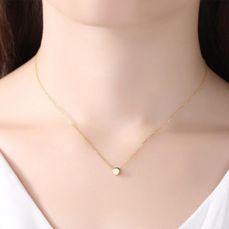 Minimalist Round Beans Pendant 18K Gold Color Sterling Silver 925 Women