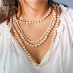 Multi Layer Imitation Pearl Choker Necklace Collar Statement Women Bead Long Chain Necklace