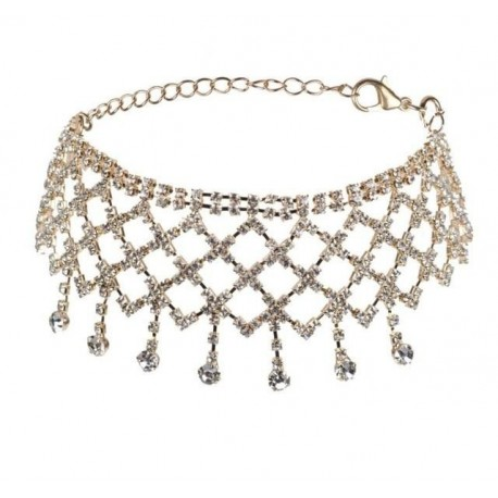 Multilayers Tassel Rhinestone Choker Statement Necklaces for Women