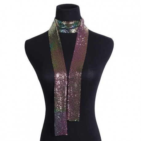Necklace Collar Statement Colorful Sequins Long Chain Necklace Scarf for Women Jewelry