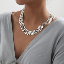 Necklace Silver Color Linked Wide Chokers Necklaces for Women Statement Jewelry