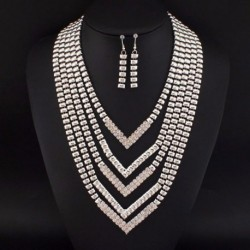 Rhinestones Statement Necklaces Earrings Set