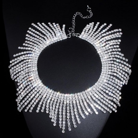Rhinestones Tassel Collar Choker Necklaces For Women Luxury Wedding Jewelry