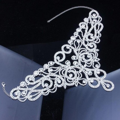 Sexy Queen Luxury Rhinestone Wedding Choker Necklace Women
