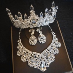 Silver Plated Crystal Crown Tiaras Necklace Earrings Set For Bride Hair Accessories