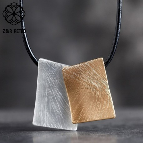Trendy Square Chokers Necklace Geometric Leather Rope Women's