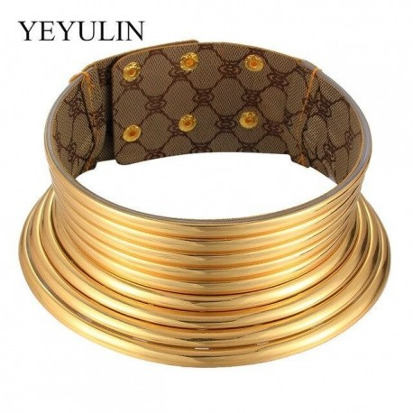 Western Style  Statement Choker Necklace Women Gold Color Leather Collar