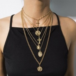 Women Carved Coin Thick Long Chain Necklace Statement Jewelry Gift