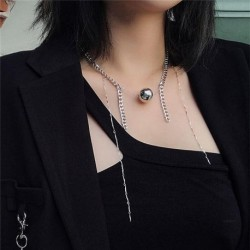 Women Girl Chunky Curb Chain Tassel Chokers Necklace Statement Jewelry