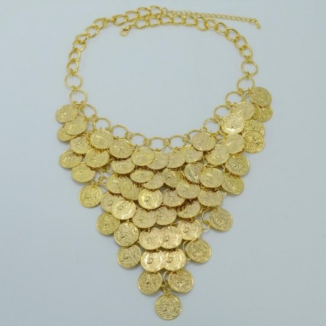 Women Gold Color Coin Big Necklaces Africa Jewelry Ethiopian Luck Gift