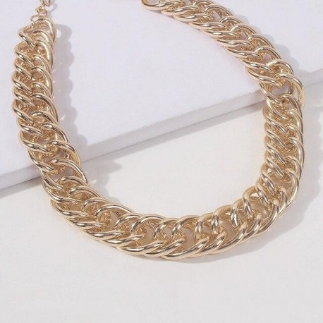 Women Gold Color Collar Statement Necklace Clavicle for Party Jewelry