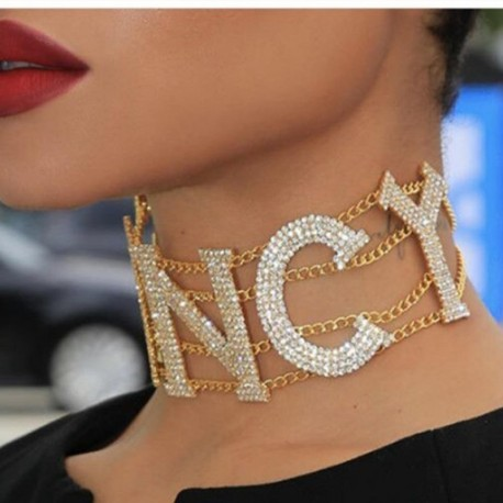 Women Rhinestone Collar Necklace Clavicle Chain Statement Big Choker
