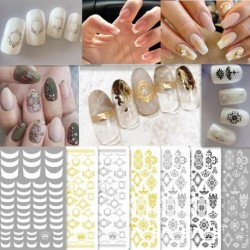 1 Piece of 3D Nail Stickers Polished Non-slip Ultra-thin Milk Tea Color and Contrast Color Series Nail Decals Nail Decoration