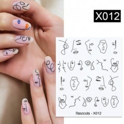 1 Sheet Abstract Lady Face Nail Decals Water Black Leaf Sliders Paper Nail Art Decor Gel Polish Sticker  Foils