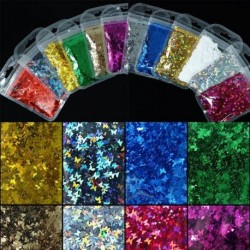 1bag Holographic Butterfly Nail Art Glitter 5g Micro Laser Star Flakes 3D Silver Gold Sequins Polish Manicure Nail Decoration
