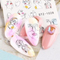 DIY Abstract Lady Face Nail Decals Water Black Leaf Sliders Paper Nail Art Decor Gel Polish Sticker Manicure Foils