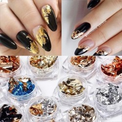 Gold Silver Red Colorful Nail Art Foil Paper Irregular Aluminum Nail Sticker Manicures Glitter Gel Polish Nail Decoration