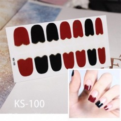 Lamemoria 14tips Art Nail Stickers Solid Color Shiny Love Pattern All Inclusive Art Deco Nail Polish Glue Polished Manicure