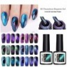 LEMOOC 5D Chameleon Magnetic Gel Nail Polish sparkly Sky Jade Effect Cat's Eye Gel Soak Off UV Laser Gel Varnish Black Base Need