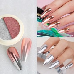 LEMOOC Two Color Solid Mirror Powder Rose Gold Pink Chrome Glitter Pigment Dust Shimmer Nail Gel Polishes Decoration