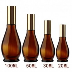 4 Sizes Gourd-shaped Empty Amber Glass Refillable Perfume Atomizer Bottle Container Cosmetic Sprayer Travel Pot Portable