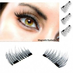 4pcs New Easy Wear 3D Magnetic Eyelash False Eyelash Double Magnet Full Strip Magnetic Lashes Soft Hair Reusable 1 pair