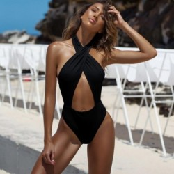 2019 Sexy One-piece Swimwear Women Hollow Black Bikini Set Cross Summer Swiming Suit Sexy Nylon Monokini Beach Wear Swimwear