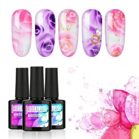 Rosalind Brand DIY Nail Tools Gel Decoration High Quality 7ML Pigment Colorful Flower DIY Blossom UV Nail Gel Polish