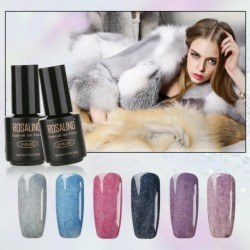 ROSALIND 7ml Long Lasting Faux Fur Effect Nail Gel Soak Off UV LED Nail Art Gel Polish 12 Colors for Nail Art