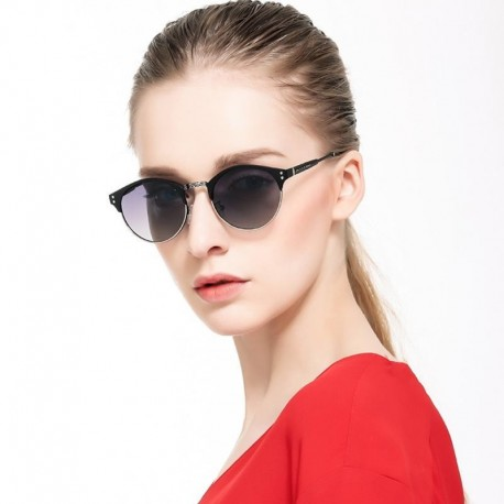 Semi-rimless Womens vintage Cat eye Sunglasses women brand designer rose gold Round retro Polarized Mirror sun glasses for women